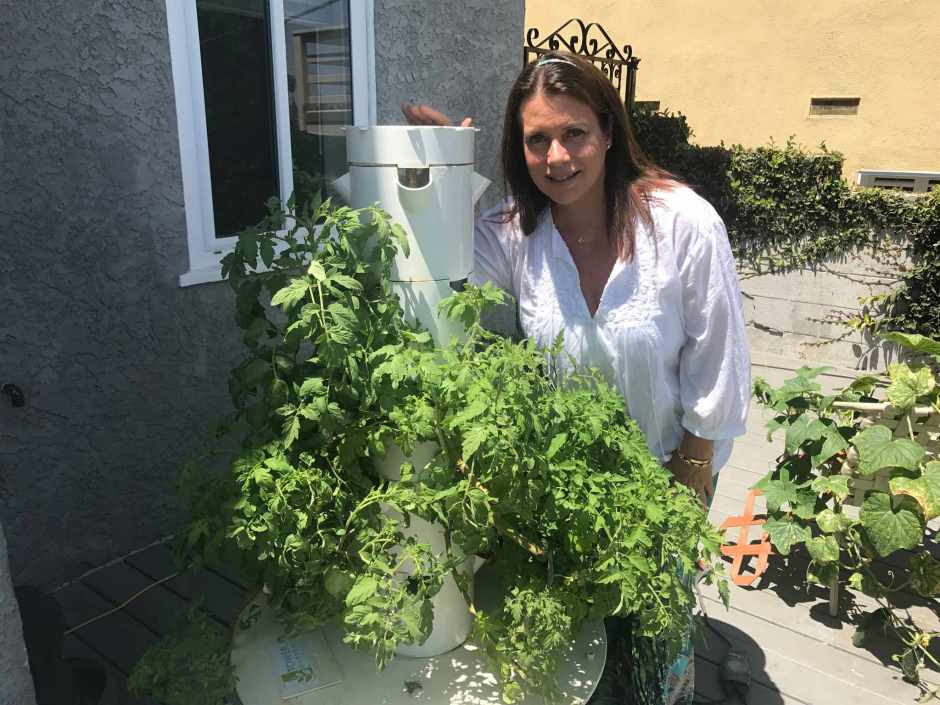 Roxanne Lawrence with Vertical Garden