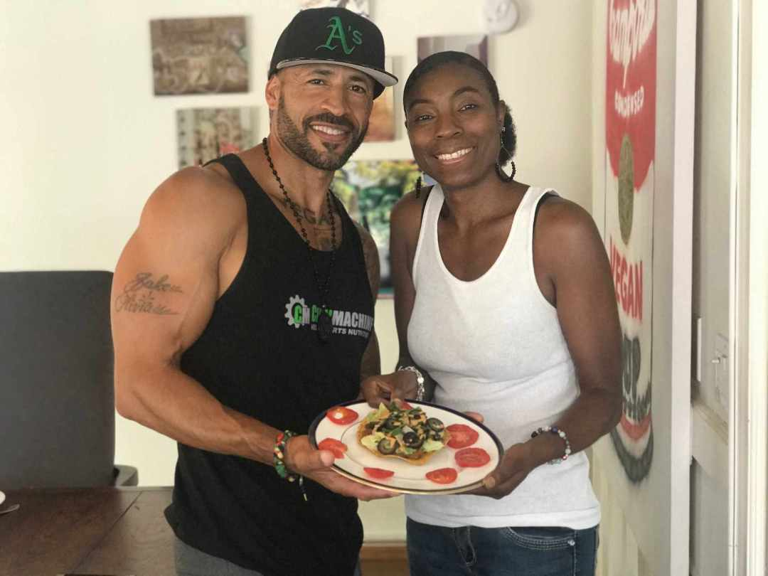 LBL Vegan Monk & Tammy with Tostada (smiling)