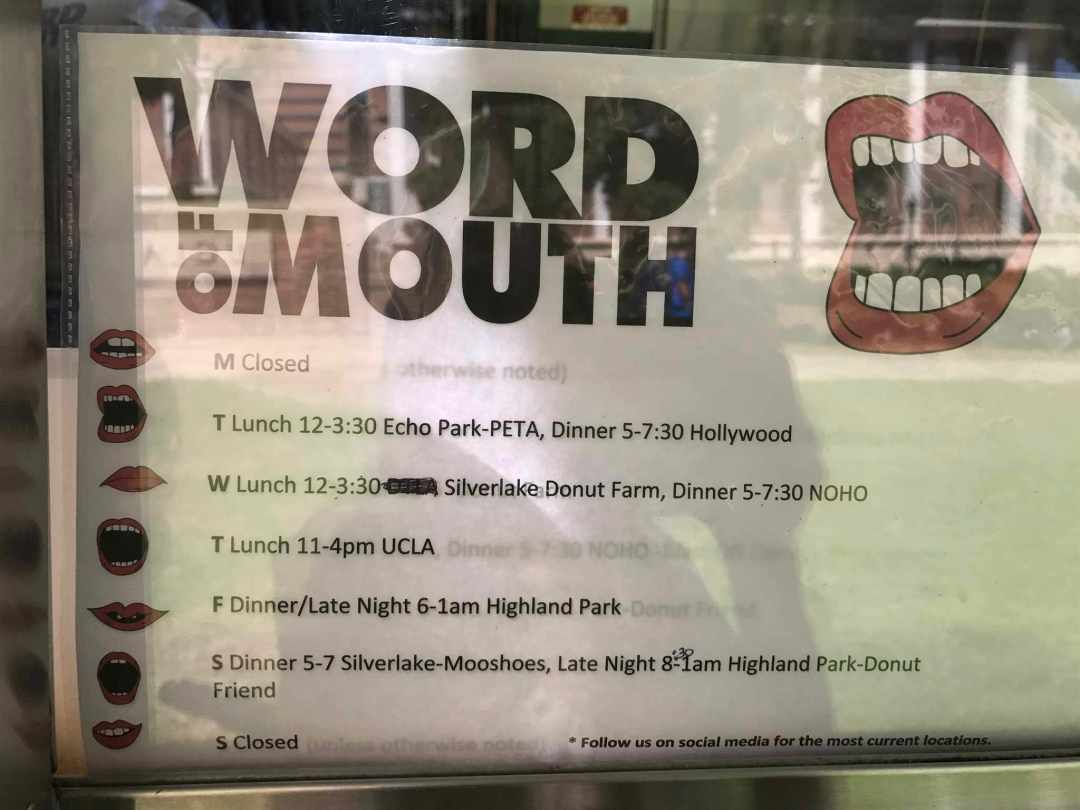 Word of Mouth Weekly Shedule