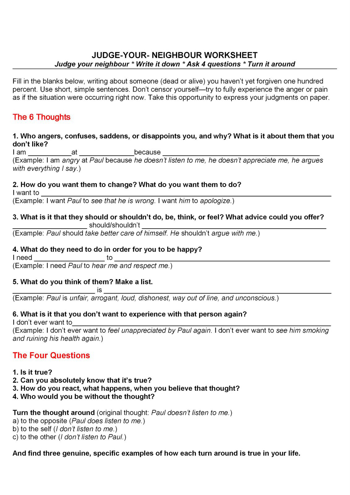 Guilt And Shame Worksheet