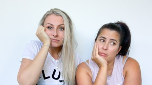 Breeder's digest parenting podcast hosts Bec Whitley and Jane Yee looking glum