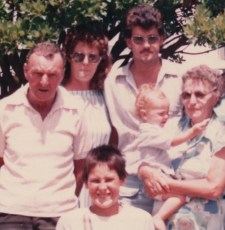 Grandpa, Mum, brother Chris, Nana with Riki and brother Steve in the front