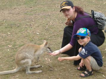 Dianne and Alex with the Kangaroo