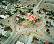 SOUTH AFRICA. Beaufort West. 2006. Beaufort West Prison is contained in a traffic circle in the centre of the N1 highway which connects Cape Town and Johannesburg.