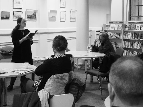 Jan reading to an audience