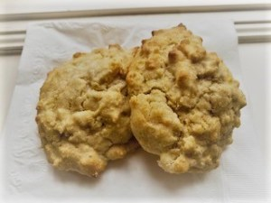 2 cheesy drop biscuits on napkin