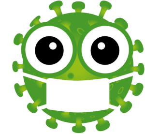 green graphic image of virus molecule with eyes wearing a mask