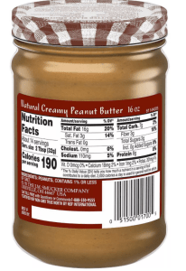 Smuckers peanut butter nutrition facts label