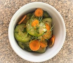 Zucchini carrot salad with fennel fronds