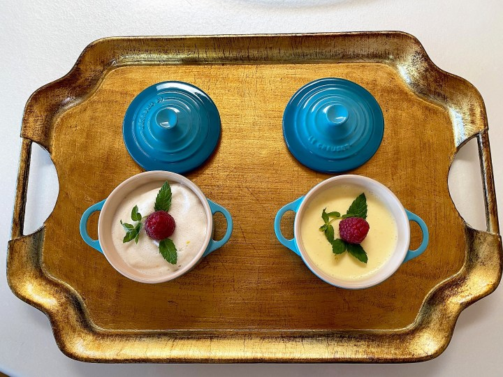 A rich lemon mousse and a light lemon mousse from two recipes