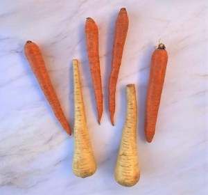 2 parsnips and 4 carrots, whole