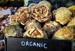 Pile of celeriac root at market
