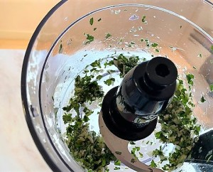 cilantro, shallot, garlic, and lime juice after blending in food processor