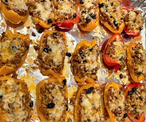 Southwestern Pepper Boats on baking sheet covered with melted cheese