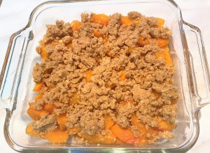 Unbaked apricot crumble