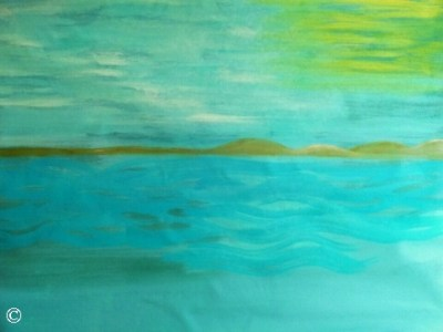 Large Painting Artwork Seascape Horizontal Original Authentic Oil Painting Blue Teal Yellow Green Calm Sea