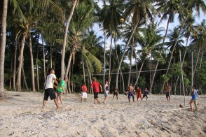 break from the boat for a volleyball match on an island somewhere in Indonesia