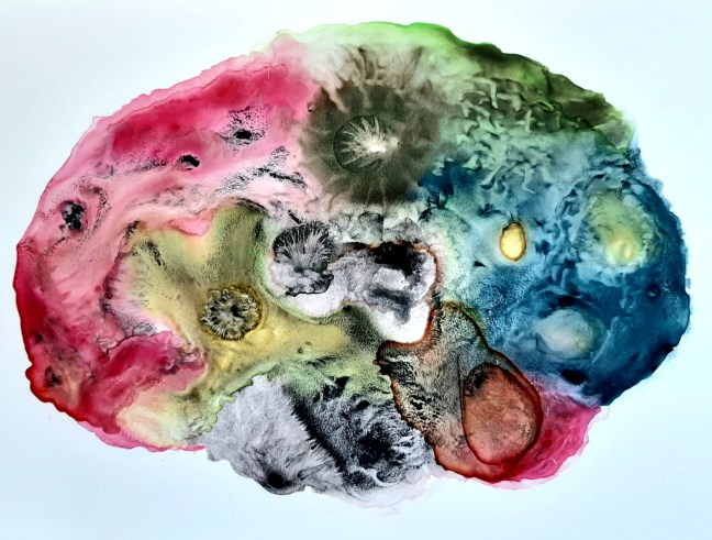 Painting by the author, a colourful brain reminiscent of a healthy, thriving and active nervous system