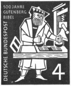 Offical German postage stamp issued to commemorate Gutenberg press