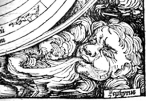 Woodcut of Zephyrus from Nuremberg Chronicle, 1493