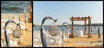 wedding flowers, ceremony decorations, janine's flowers, outside wedding, sand, beach, tan tar a, shepherd hooks, twine balls, camdenton, lake ozark, osage beach, lake wedding, lake of the ozarks wedding