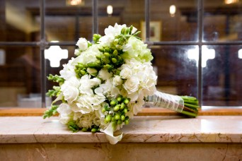 bride bouquet, green, white, hydrangea, lake ozark, camdenton, osage beach, lake of the ozarks, wedding flowers, janine's flowers, hand tied bouquet, lake wedding,