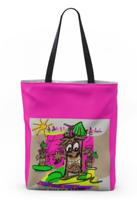 "Tote 18"" x 18."" ""Surf's Up With Tiki Guy."""
