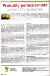 """Artykuł """"Produkty pełnoziarniste sposobem na zdrowie"""" dla AGRO"""
