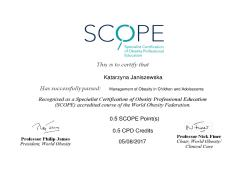 Management of Obesity in Children and Adolescents. Specialist Certification of Obesity Professional Education (SCOPE)