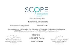 What's in a Diet? Specialist Certification of Obesity Professional Education (SCOPE)