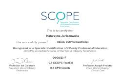 Obesity and Pharmacotherapy. Specialist Certification of Obesity Professional Education (SCOPE)