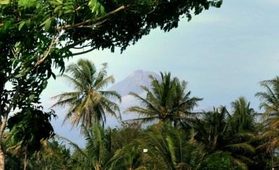 """Jest! Odsłonił się! Gunung Merapi! """"Góra ognia"""", 2910 m. Za kilka dni planujemy stanąć na krawędzi jego krateru. Bardzo aktywny wulkan, najbardziej aktywny na Jawie. A nie wygląda :)"""