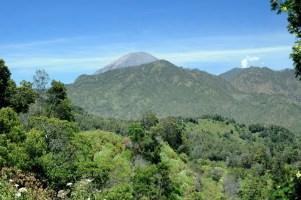 Gunung Semeru - ten wulkan z tyłu, aktywny, najwyższy na Jawie, 3676m. Pluje dymem mniej więcej co 15-20 minut.