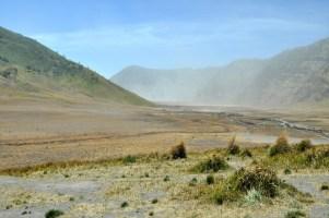 Wjeżdżamy na dno kaldery Tengger. Kaldera ma kilkanaście kilometrów średnicy, a w niej wyrosło 5 kolejnych wulkanów.