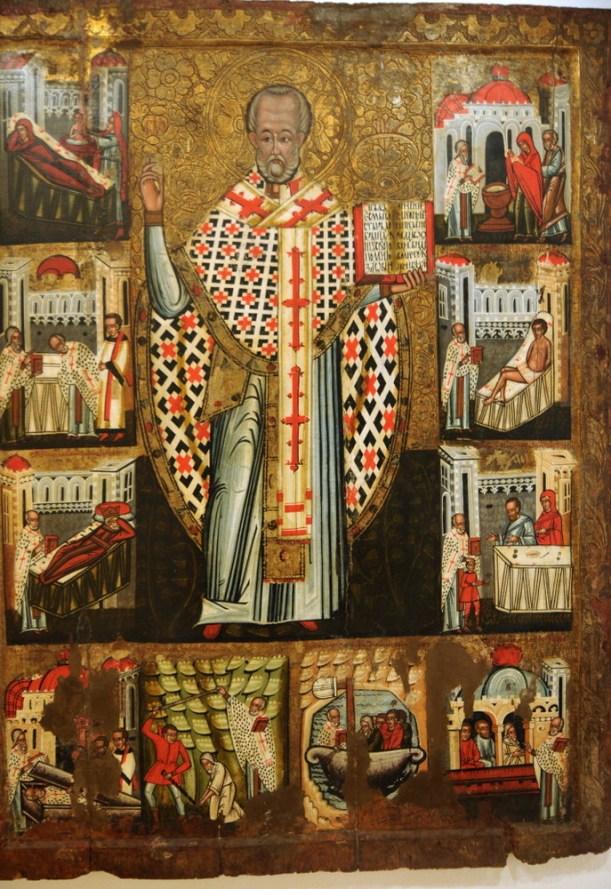 Św. Mikołąj, 1560, z cerkwi w Dubovej. Dookoła postaci sceny z życia Mikołaja, np. narodziny chrzest, wyświęcenie na biskupa, itp.