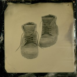 Fathers Shoes On The Snow, Hasselblad,Tintype, 02/2013