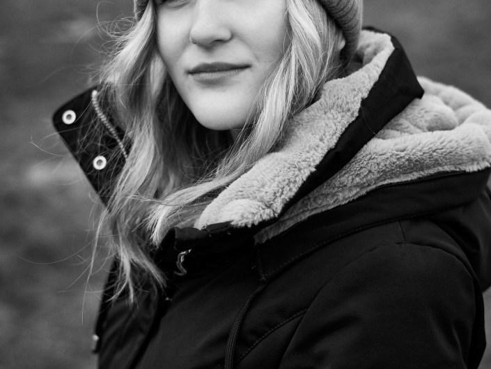 Portrét fotografovaný v zimě