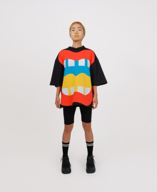 Black patchwork genderless sweatshirt