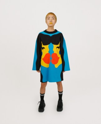 Blue patchwork genderless dress