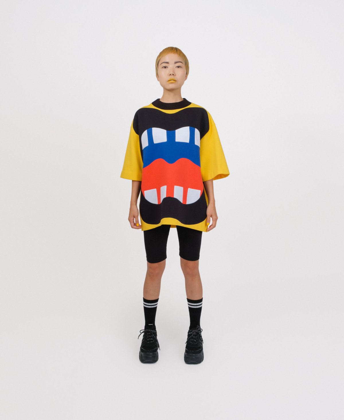 yellow patchwork sweater