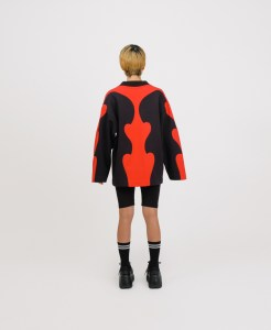 Red patchwork genderless sweatshirt