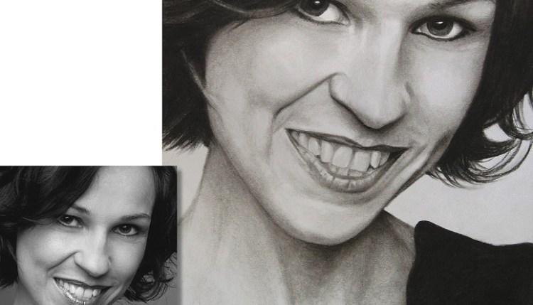 Ihr Portrait als Kohlezeichnung