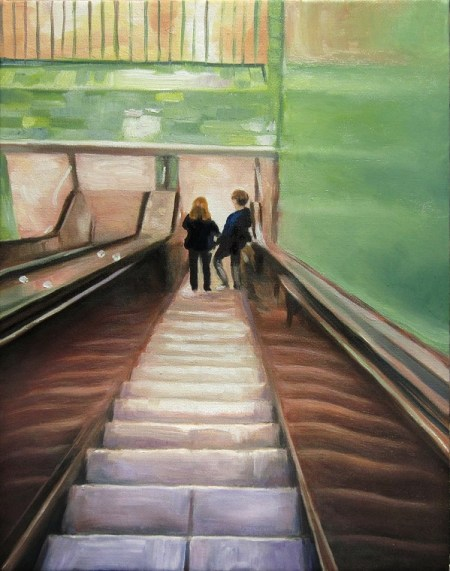 Rolltreppe, Kunst, Malerei Ölgemälde Painting