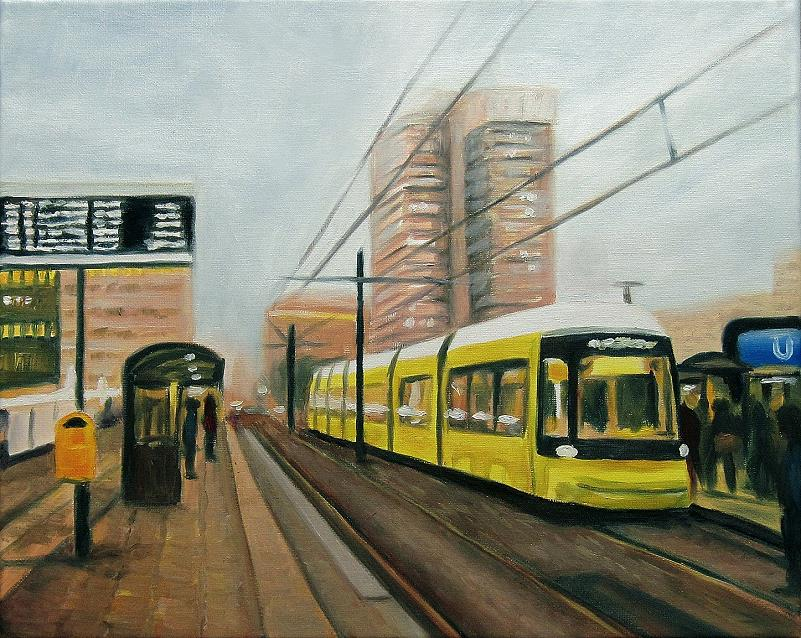 Tram Berlin Alexanderplatz, Kunst, Malerei Ölgemälde Painting