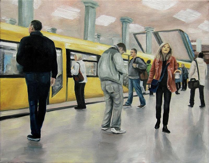 U-Bahn Berlin, Kunst, Malerei Ölgemälde Painting