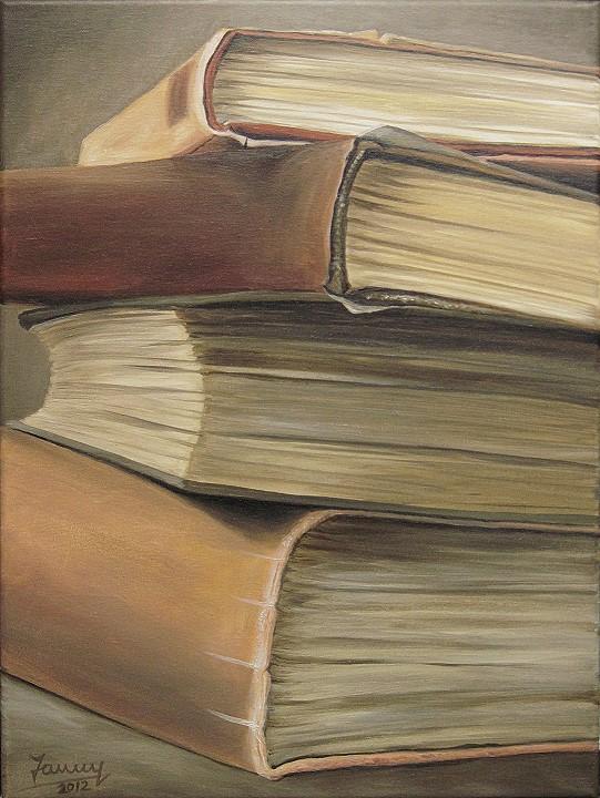Bücherstapel, Kunst Ölmalerei Gemälde Painting