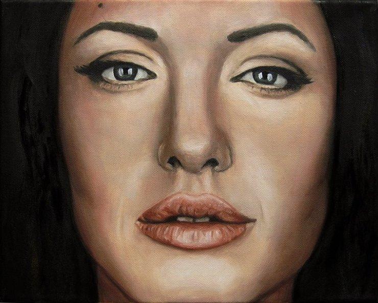 Angelina Jolie, Portrait Kunst, Malerei Ölgemälde Painting