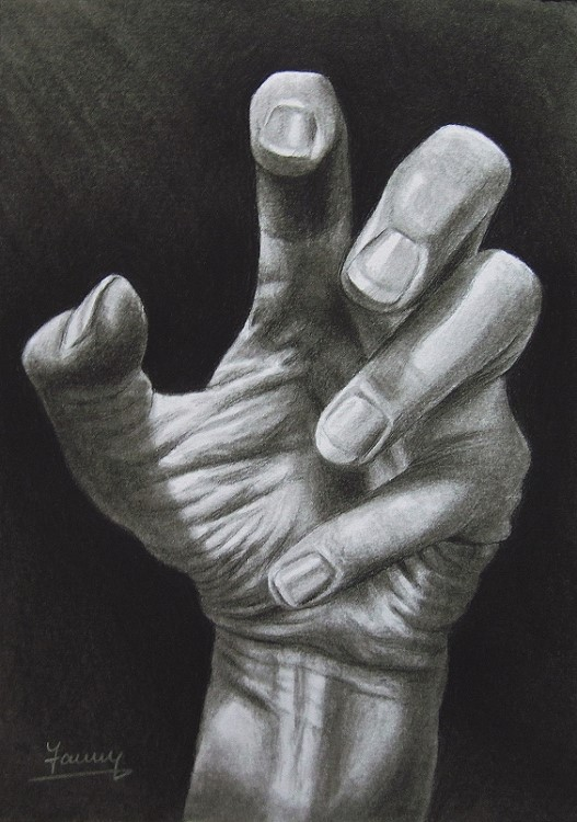 Hand Kohlezeichnung