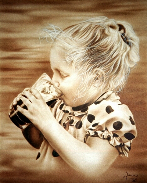 Trinkendes Mädchen Airbrush Portrait Kunst Malerei Gemälde Painting