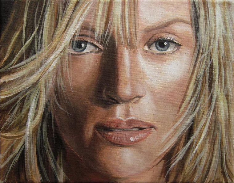Uma Thurman Portrait Kunst Malerei Ölgemälde Painting